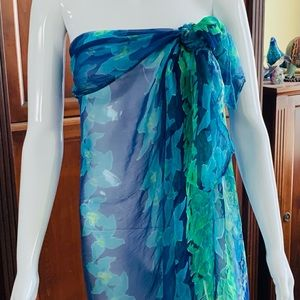 Blue & green sheer beach pareo swimsuit cover-up